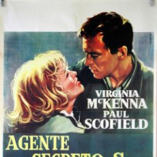 Cine: AGENTE SECRETO SZ... VIRGINIA MCKENNA-PAUL SCOFIELD. CARTEL ORIGINAL 1959. 70X100. Lote 83048816