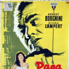 Cine: PAGA O MUERE. ERNEST BORGNINE. CARTEL LITOGRÁFICO ORIGINAL 1960. 70X100. Lote 83314536