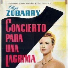 Cine: CONCIERTO PARA UNA LÁGRIMA. OLGA ZUBARRY-JULIO PORTER. CARTEL ORIGINAL 1960. 70X100. Lote 83315496