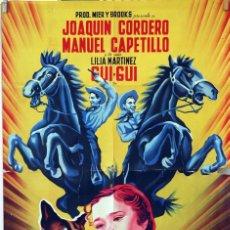 Cine: TRES VALIENTES CAMARADAS. MIGUEL MORAYTA. CARTEL LITOGRÁFICO ORIGINAL 1959. 70X100. Lote 83316912
