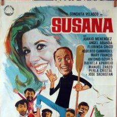 Cine: SUSANA. CONCHA VELASCO-JUANJO MENÉNDEZ. CARTEL ORIGINAL 1969. 70X100. Lote 83414000