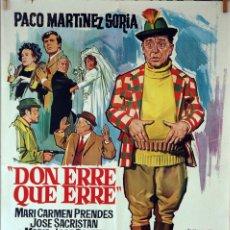Cine: DON ERRE QUE ERRE. PACO MARTÍNEZ SORIA-J.L. SAENZ DE HEREDIA. CARTEL ORIGINAL 1970. 70X100. Lote 125093587