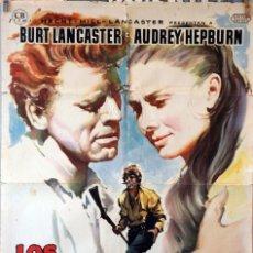 Cine: LOS QUE NO PERDONAN. BURT LANCASTER-AUDREY HEPBURN. CARTEL ORIGINAL 1960. 70X100. Lote 83700448