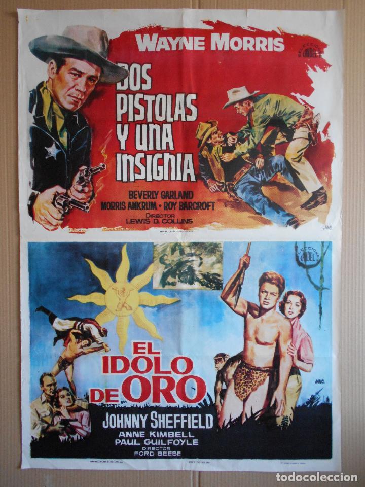 CARTEL, POSTER DE CINE, DOBLE - DOS PISTOLAS Y UNA INSIGNIA / EL IDOLO DE ORO - 1964... R - 5610 (Cine - Posters y Carteles - Aventura)