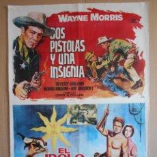 Cine: CARTEL, POSTER DE CINE, DOBLE - DOS PISTOLAS Y UNA INSIGNIA / EL IDOLO DE ORO - AÑO 1964... R - 5611. Lote 84177088