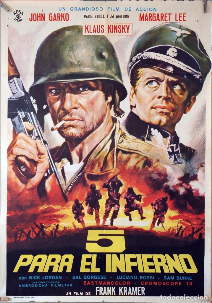 5 PARA EL INFIERNO. KLAUS KINSKI. CARTEL ORIGINAL 1969. 70X100 (Cine - Posters y Carteles - Bélicas)