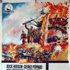 Cine: TOBRUK. ROCK HUDSON-GEORGE PEPPARD. CARTEL ORIGINAL 70X100. Lote 84530252