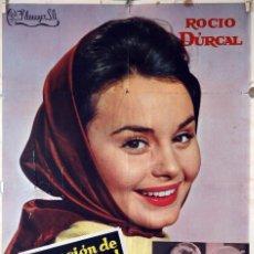 Cine: CANCIÓN DE JUVENTUD. ROCÍO DURCAL-LUIS LUCIA. CARTEL ORIGINAL 1962. 70X100. Lote 85102308