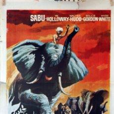 Cine: SABÚ DE LOS ELEFANTES. ZOLTAN KORDA. CARTEL ORIGINAL 1966. 70X100. Lote 85206692