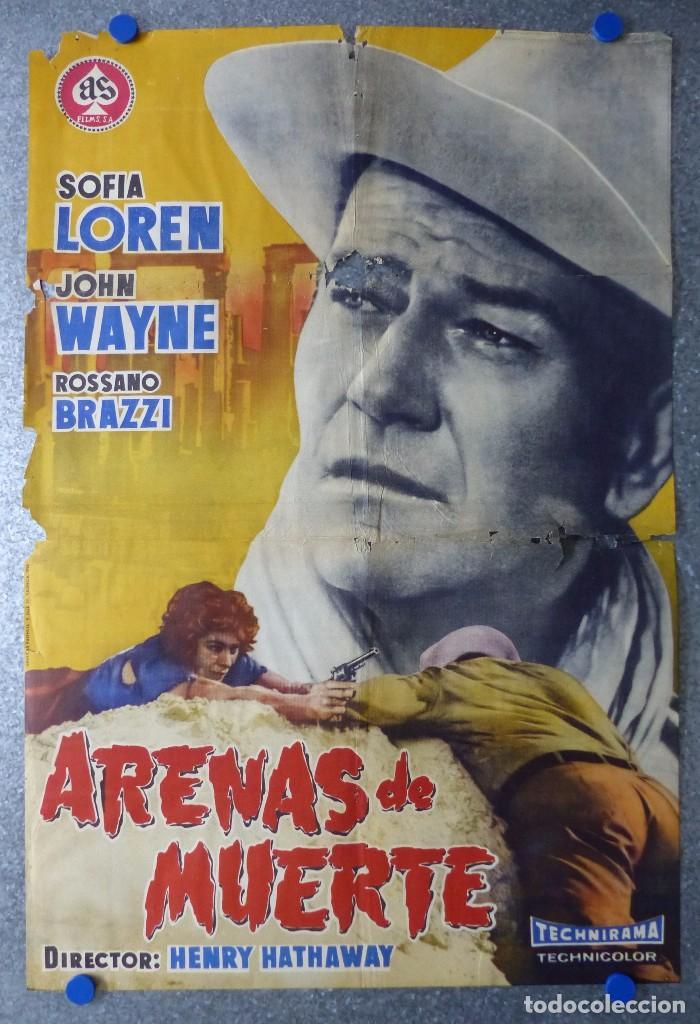 CARTEL ARENAS DE MUERTE - SOFIA LOREN, JOHN WAYNE ROSSANO BRAZZI - AÑO 1958 (Cine - Posters y Carteles - Westerns)