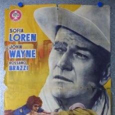 Cine: CARTEL ARENAS DE MUERTE - SOFIA LOREN, JOHN WAYNE ROSSANO BRAZZI - AÑO 1958. Lote 85519800