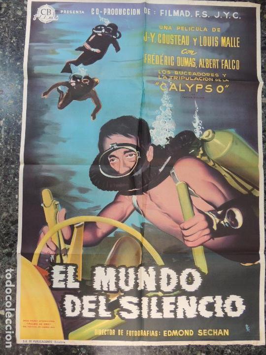 EL MUNDO DEL SLIENCIO - POSTER CARTEL ORIGINAL ESTRENO - JACQUES-YVES COUSTEAU LOUIS MALLE CALYPSO (Cine - Posters y Carteles - Documentales)