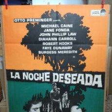 Cine: LA NOCHE DESEADA MICHAEL CAINE JANE FONDA OTTO PREMINGER POSTER ORIGINAL 70X100 . Lote 85848428