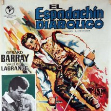 Cine: EL ESPADACHÍN DIABÓLICO. BERNARD BORDERIE. CARTEL ORIGINAL 1966. 70X100. Lote 86445192
