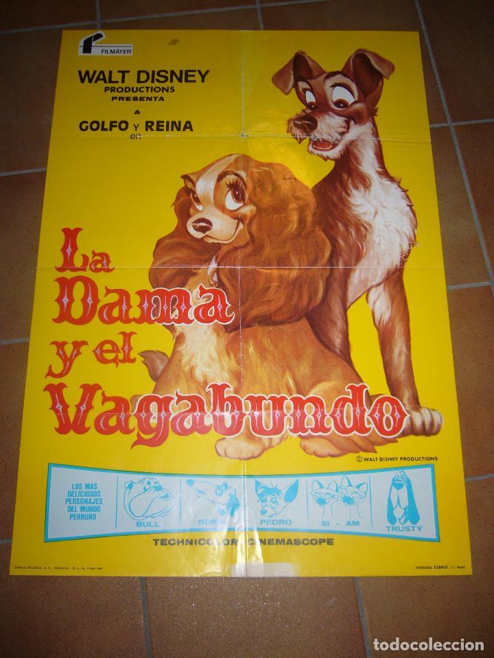 LA DAMA Y EL VAGABUNDO WALT DISNEY POSTER ORIGINAL 70X100 REPOSICION 1980 POSIBILIDAD DE BLU RAY (Cine - Posters y Carteles - Infantil)