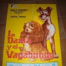 Cine: LA DAMA Y EL VAGABUNDO WALT DISNEY POSTER ORIGINAL 70X100 REPOSICION 1980 POSIBILIDAD DE BLU RAY. Lote 86563748