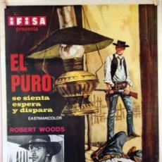 Cine: EL PURO SE SIENTA, ESPERA Y DISPARA. ROBERT WOODS. CARTEL ORIGINAL. 70X100. Lote 86570320