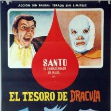 Cine: EL TESORO DE DRÁCULA. SANTO EL ENMASCARADO. CARTEL ORIGINAL 1971. 70X100. Lote 87536932