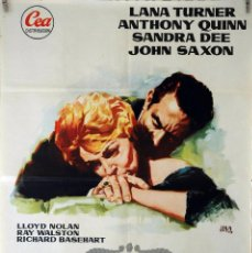 Cine: RETRATO EN NEGRO. LANA TURNER-ANTHONY QUINN. CARTEL ORIGINAL 1961. 70X100. Lote 87600464