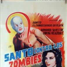 Cine: SANTO CONTRA LOS ZOMBIES. CARTEL ORIGINAL 1964. 70X100. Lote 87621724