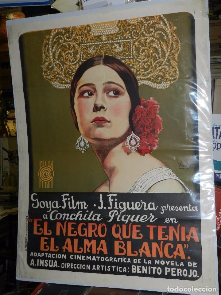 (M) CARTEL ORIGINAL DE CONCHA PIQUER - EL NEGRO QUE TENIA EL ALMA BLANCA 1927 BENITO PEROJO (Cine - Posters y Carteles - Clasico Español)