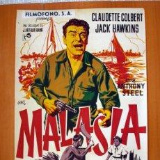 Cine: MALASIA - CARTEL TAMAÑO 100X68 - CLAUDETTE COLBERT Y JACK HAWKINS. Lote 89192420