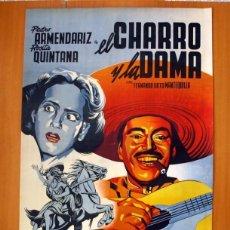 Cine: EL CHARRO Y LA DAMA - CARTEL TAMAÑO 98X68 - PEDRO ARMENDARIZ Y ROSITA QUINTANA. Lote 89193016