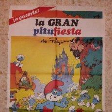 Cine: LOS PITUFOS - LA GRAN PITU FIESTA - CARTEL DE CINE. Lote 89211392