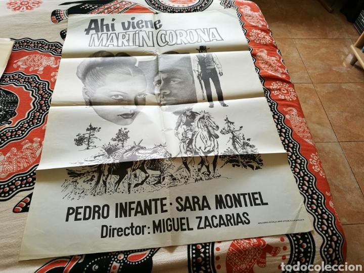 CARTEL GRANDE ORIGINAL DE CINE DE LA PELÍCULA AHÍ VIENE MARTÍN CORONA. CON SARA MONTIEL. AÑOS 70 (Cine - Posters y Carteles - Clasico Español)