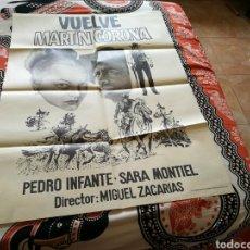 Cine: CARTEL GRANDE ORIGINAL DE CINE DE LA PELÍCULA VUELVE MARTÍN CORONA. CON SARA MONTIEL. AÑOS 70. Lote 112513132