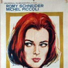 Cine: LA LADRONA. ROMY SCHNEIDER-MICHEL PICCOLI. CARTEL ORIGINAL 1967. 70X100. Lote 90806340