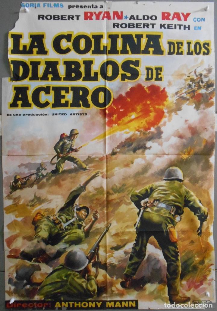 XW96 LA COLINA DE LOS DIABLOS DE ACERO ANTHONY MANN ROBERT RYAN POSTER ORIGINAL 70X100 ESTRENO (Cine - Posters y Carteles - Bélicas)