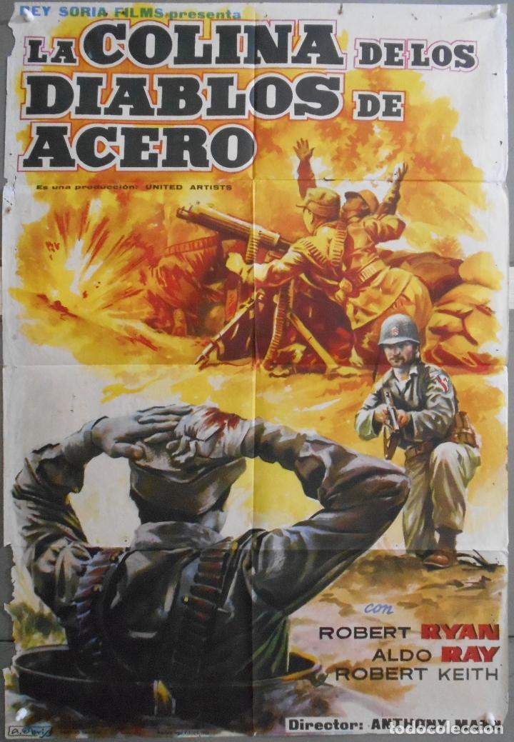 XW94 LA COLINA DE LOS DIABLOS DE ACERO ANTHONY MANN ROBERT RYAN POSTER ORIGINAL 70X100 ESTRENO (Cine - Posters y Carteles - Bélicas)
