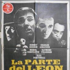 Cine: XW86 LA PARTE DEL LEON CHARLES AZNAVOUR ELSA MARTINELLI POSTER ORIGINAL 70X100 ESTRENO. Lote 91445945