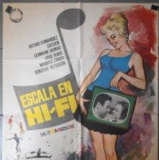 Cine: 'ESCALA EN HI-FI', CON ARTURO FERNÁNDEZ. PÓSTER ORIGINAL DE CINE AÑO 1963. 1 M X 70 CM.. Lote 91479680