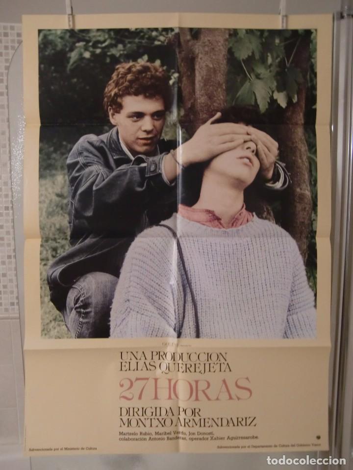 CARTEL CINE ORIG 27 HORAS (1986) 70X100 / MARIBEL VERDU / MONTXO ARMENDARIZ / ANTONIO BANDERAS (Cine - Posters y Carteles - Clasico Español)
