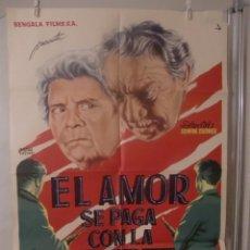 Cine: CARTEL CINE ORIG EL AMOR SE PAGA CON LA MUERTE (1960) 70X100 / MARISA MELL / CARL WERY. Lote 92336430