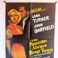 Cine: THE POSTMAN ALWAYS RINGS TWICE (EL CARTERO SIEMPRE LLAMA DOS VECES)CARTEL100X70 ORIGINAL GARANTIZADO. Lote 93592625