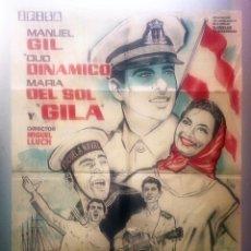 Cine: CARTEL POSTER BOTON DE DE ANCLA EN COLOR SIN IMPRESION COLOR AMARILLO 1961 DUO DINAMICO GILA 100X79. Lote 94164055