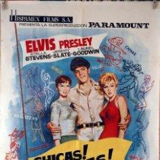 Cine: CHICAS, CHICAS, CHICAS. ELVIS PRESLEY. CARTEL ORIGINAL 1964. 100X70. Lote 94518122