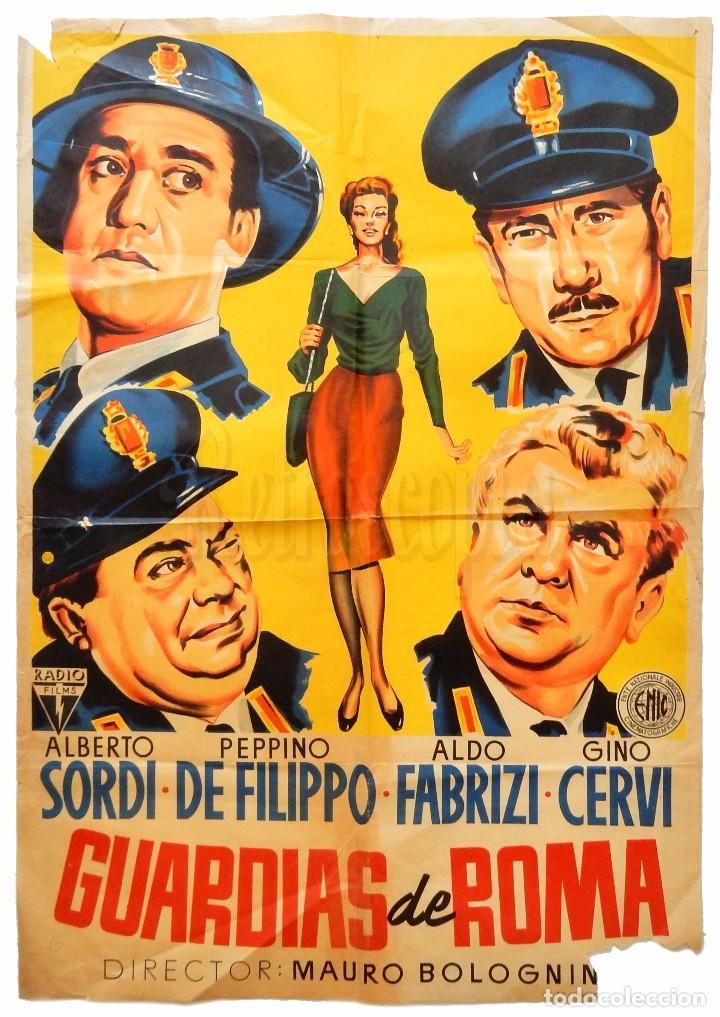 CARTEL POSTER ORIGINAL *GUARDIAS DE ROMA* ALBERTO SORDI, PEPPINO DE FILIPO, ALDO FABRIZI (Cine - Posters y Carteles - Comedia)