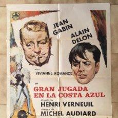 Cine: CARTEL DE CINE DEL ESTRENO DE LA PELÍCULA GRAN JUGADA EN LA COSTA AZUL (1963). Lote 163700082