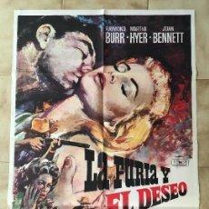 Cine: CARTEL DE CINE DEL ESTRENO DE LA PELÍCULA LA FURIA Y EL DESEO (1960). Lote 95168175