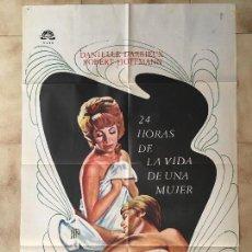 Cine: CARTEL DE CINE DEL ESTRENO DE LA PELÍCULA 24 HORAS DE LA VIDA DE UNA MUJER (1968). Lote 95184231