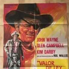 Cine: CARTEL DE CINE DEL ESTRENO DE LA PELÍCULA VALOR DE LEY, DE JOHN WAYNE (1969). Lote 95184971