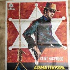 Cine: CARTEL DE CINE DEL ESTRENO DE LA PELÍCULA COMETIERON DOS ERRORES DE CLINT EASTWOOD (1968). Lote 95236940