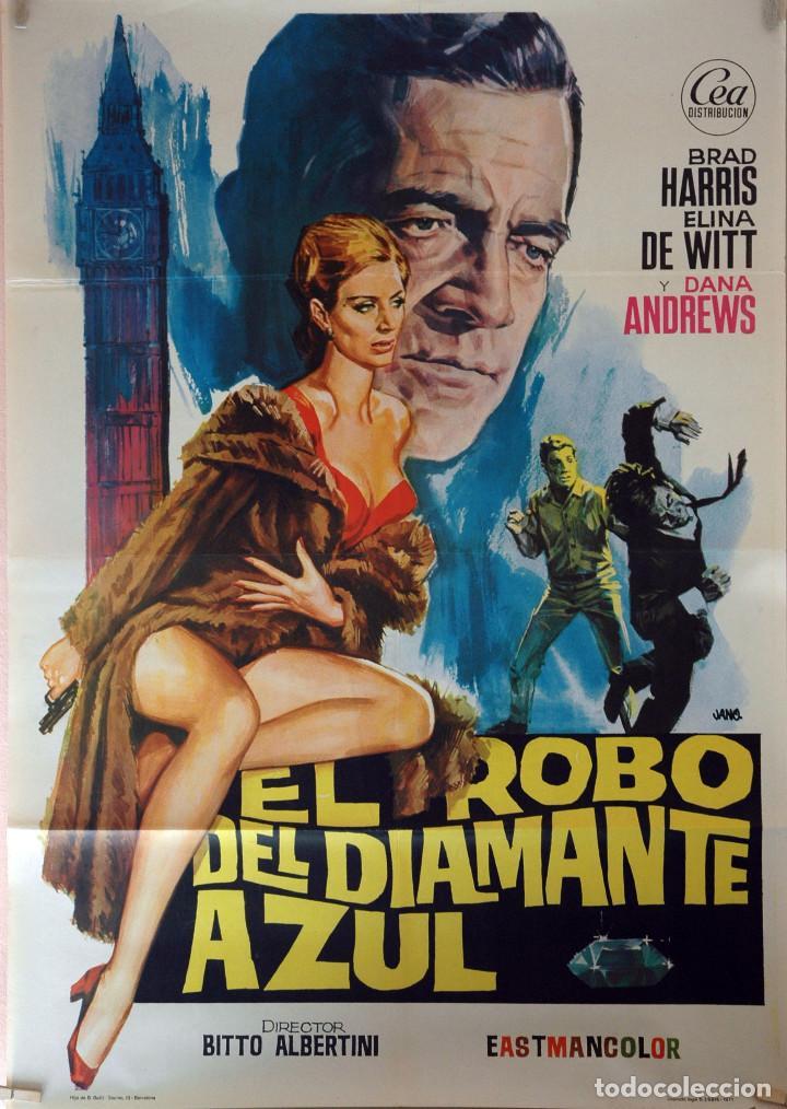 EL ROBO DEL DIAMNATE AZUL. DANA ANDREWS. CARTEL ORIGINAL 1971. 70X100 (Cine - Posters y Carteles - Acción)