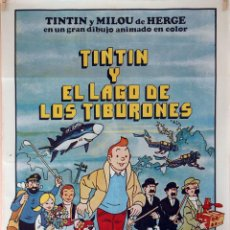 Cine: TIN TIN Y EL LAGO DE LOS TIBURONES. RAYMOND LEBLANC. CARTEL ORIGINAL 1974. 70X100. Lote 95451547