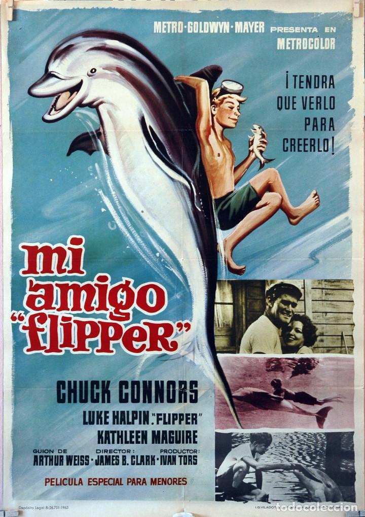 MI AMIGO FLIPPER. CHUCK CONNORS. CARTEL ORIGINAL 1966. 70X100 (Cine - Posters y Carteles - Infantil)