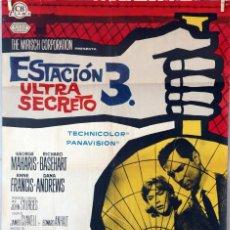Cine: ESTACIÓN 3 ULTRA SECRETO. DANA ANDREWS. JOHN STURGES. CARTEL ORIGINAL 1965. 70X100. Lote 96688491